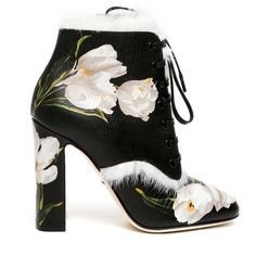 DOLCE & GABBANA 'Tulips' printed leather ankle boots ($1,365) ❤ liked on Polyvore featuring shoes, boots, ankle booties, heels, ankle boots, black, heeled ankle boots, leather booties, black heel booties and heeled booties