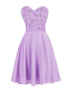 42eacab66a4c4e Dressystar Short Homecoming Party Dress Sweetheart Prom Evening Gowns  Beading Size 24W Lavender -- Click image to review more details.