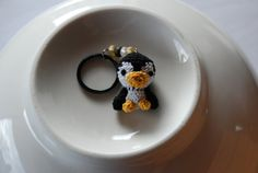 Mini Penguin Crocheted Keychain by YazzKnits on Etsy, $8.00