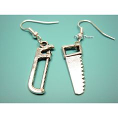 Hacksaw Handsaw Earrings mini saw earrings zombie weapon horror... ($10) ❤ liked on Polyvore featuring jewelry and earrings