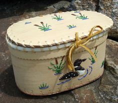Dene quilled bark basket from Fort Laird, NWT