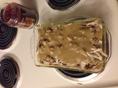 Turkey leftover casserole  Mashed potatoes layer the bottoms of the pan and small chunks of turkey and stuffing scattering all over the top layer and coat with gravy in the oven 350 degrees for 30 mins and all you thanksgiving leftover are gone
