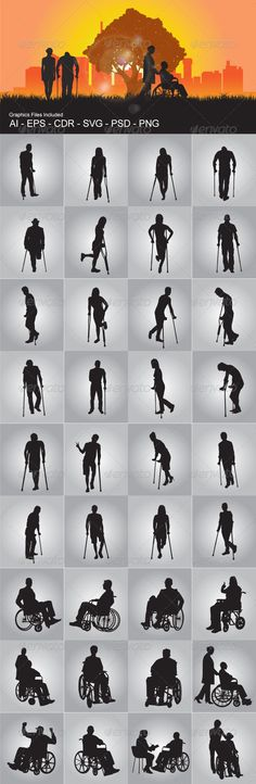 People on Crutch and Wheelchair #GraphicRiver People On Crutch And Wheelchair silhouettes vector design. In this files include AI and EPS versions. You can open it with Adobe Illustrator CS and other vector supporting applications. I hope you like my design, thanks Graphics Files Included : AI ( Adobe Illustrator ) EPS (Encapsulated Postscript ) V.10, PNG ( Portable Network Graphics ) without background / transparent ,CDR (Corel Draw ), SVG ( Scalable Vector Graphics ) can open with inkscape…