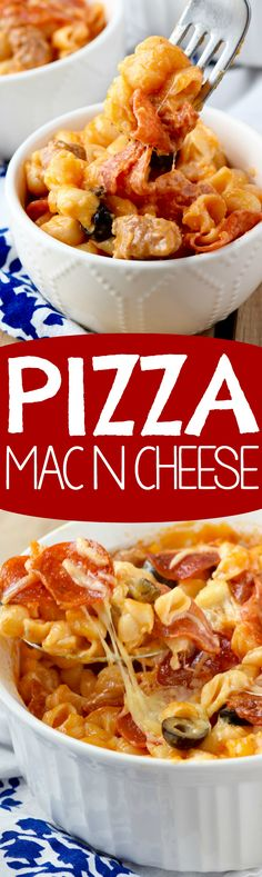 This Pizza Mac N Cheese is a quick and easy dinner that your family is going to love! (Mac N Cheese) I Love Food, Good Food, Yummy Food, Pasta Dishes, Food Dishes, Main Dishes, Side Dishes, Quick Meals, Italian Recipes