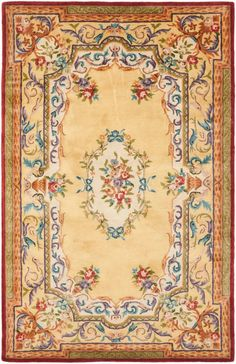 Safavieh EM822-6 Empire 6' x 9' Rectangle Wool Hand Tufted Traditional Area Rug Gold / Gold Home Decor Rugs Area Rugs