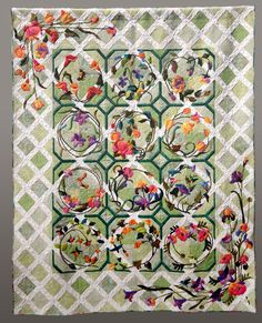 'Flowers Are A-Blooming' applique quilt by Joyce Woodall. 3rd place at the Road to California.