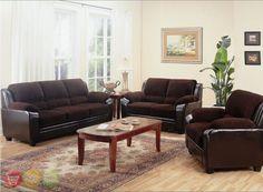 Monika Chocolate Sofa, LoveSeat & Chair Casual 3 Piece Living Room Furniture…