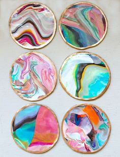 Mix different colors of clay to make these DIY marbled coasters.