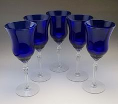 5 Cobalt Blue Louie Crystal Wine Goblet Tall Goblets Bar Glasses Stemware  #Louie Cobalt Glass, Cobalt Blue, Dessert Glasses, Ice Buckets, Wine Goblets, Shops, Cocktail, Bar, Crystals