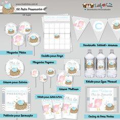 Kit Editável Chá de Bebê Passarinho Azul para Imprimir