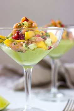 Cold smoked salmon cocktail with avocado cream. A rendition of a 80's classic! A perfect starter for a new years eve dinner party!