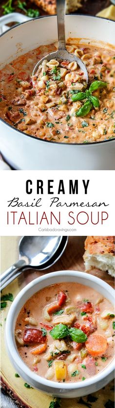Creamy Basil Parmesan Italian Soup tastes better than any restaurant soup at a fraction of the price! Super easy seasoned to perfection bursting with tender chicken tomatoes carrots celery and macaroni enveloped creamy Parmesan. Italian Soup Recipes, Chili Recipes, Jelly Recipes, Crockpot Recipes, Chili Soup, Cooking Recipes, Healthy Recipes, Vitamix Recipes, Soup And Sandwich