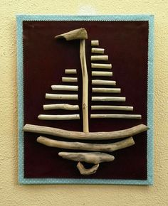 Twig Crafts, Seashell Crafts, Beach Crafts, Diy Arts And Crafts, Driftwood Wall Art, Driftwood Projects, Bohemian Crafts, Twig Art, Paper Crafts Magazine