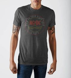 AC/DC  Mens Grey Soft Hand T-Shirt
