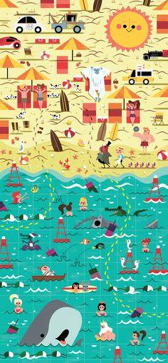 Mural panel 4/5 - The Beach, Andrew Kolb