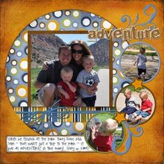 A Day in the Life: Freebie Digital Scrapbooking Template (actual layout - templates on page too! Album Scrapbook, Vacation Scrapbook, Disney Scrapbook, Scrapbook Sketches, Scrapbook Page Layouts, Baby Scrapbook, Circle Scrapbook, Photo Layouts, Scrapbook Templates