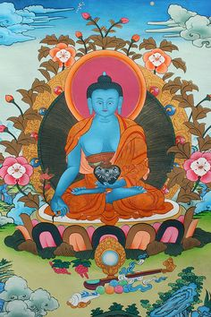 Medicine #Buddha: The supreme healer. Beautiful Traditional #Thangka Painting #handmade by master artist