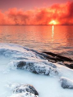 Collection of Stunning Photography !!! - Beautiful Snow Sunset
