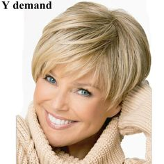 Beautiful boy cut Short pixie wigs for women Straight style Synthetic Blonde wig with bangs