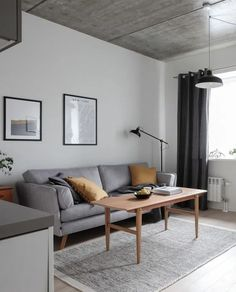 Scandinavian style apartment, concrete ceilings, modern mixed with vintage. : Scandinavian style apartment, concrete ceilings, modern mixed with vintage. Styling and photography Anu Tammiste New Living Room, Living Room Modern, Living Room Interior, Scandinavian Style, Nordic Style, Scandinavian Apartment, Scandinavian Interior, Sofa Design, Living Room Decor Inspiration