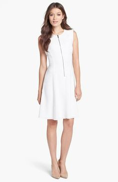 Elie Tahari 'Nina' Zip Front Sleeveless Crepe Dress available at #Nordstrom