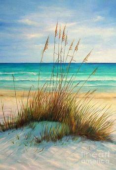 Siesta Key Beach Art Print featuring the painting Siesta Key Beach Dunes by Gabriela Valencia