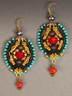 Do You Know Joan Babcock, Amazing Fiber Artist? - Palazzo earrings in marigold and black