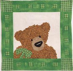 Thaddeus, a teddy bear quilt pattern by Julia Deimert.