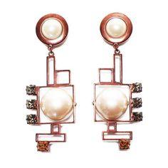 Crystalline antique copper pearl earrings ($502)