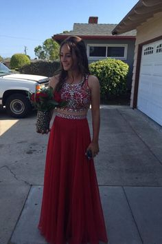 Two Pieces Evening Dress,Chiffon Prom Dress,Red prom dress,Charming Beaded prom dress,Long prom dress,BD2901