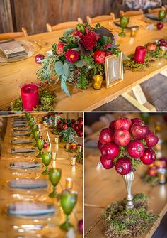 wedding table settings apple inspired wedding ideas wedding chicks Wedding Flowers For A Miraculous Apple Wedding Centerpieces, 50th Birthday Centerpieces, Diy Centerpieces, Snow White Wedding, Fall Wedding, Wedding Ideas, Autumn Weddings, Wedding Planning, Apple Decorations