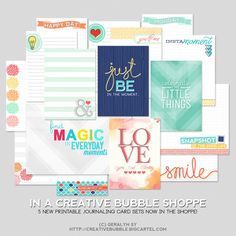 Five new printable journal card sets at the In A Creative Bubble Shoppe