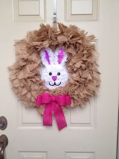 Burlap Wreath with Easter Bunny Face by by ForestEdgeBoutique