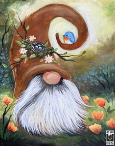 Tole Painting, Painting & Drawing, Gnome Paint, Gnome Pictures, Spring Painting, Rock Painting Designs, Paint And Sip, Theme Noel, Christmas Paintings