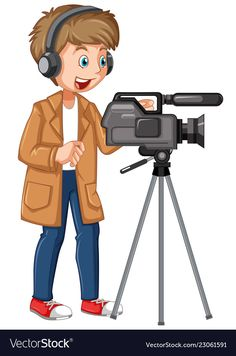 A professional cameraman character Portrait Illustration, Character Illustration, Manga Illustration, Digital Illustration, Baby Cartoon, Cartoon Kids, Teacher Cartoon, Community Helpers Preschool, Community Workers