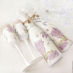 """Купить """"Прованс"""" декор свадебных бутылок - бледно-сиреневый, аксессуары, Аксессуары handmade, аксессуары для фотосессий"""