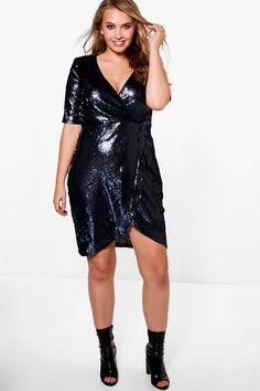 Plus Grace Wrap 3/4 Sleeve Sequin Dress
