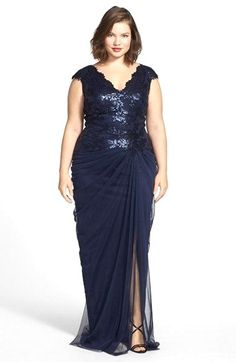 Gathering The Most Fabulous Fashion Finds For Those A Little More Tadashi Shoji Sequin Tulle V Neck Gown Plus Size