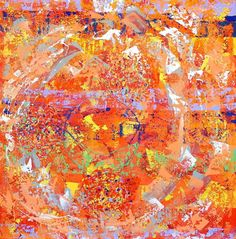 """SVADHISTHANA - Tecnica mista su juta cm 100x100 - 2013 II° chakra, """"COLLOCATO NEL SUO PROPRIO POSTO"""" È localizzato dentro la sushumna alla base dell'organo genitale. Svadhishthana, ovvero il chakra «collocato nel suo proprio posto», appare come un loto di colore vermiglio secondo i testi antichi e arancio secondo l'esperienza di alcuni maestri yoga contemporanei; l'elemento correlato è l'acqua. L'organo di senso rapportato è la lingua, sede del gusto, mentre l'organo di azione sono le mani."""
