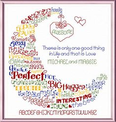 Lets Hug our Lover 'Words' cross stitch pattern designed by Ursula Michael,