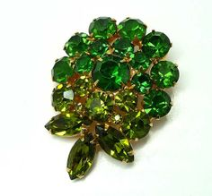 Green Rhinestone Flower  Two tone Brooch by thejewelseeker on Etsy, $26.00