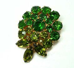 Green Rhinestone Flower  Two tone Brooch by thejewelseeker on Etsy, $26.00