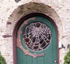 "spider web--fabulous door""the door was old, the glass portal cracked in such a way it resembled a spider weaving its web. Cool Doors, Unique Doors, Knobs And Knockers, Door Knobs, Art Et Design, Web Design, Design Ideas, House Design, Stained Glass Door"