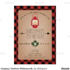 Camping / Outdoors Wilderness Birthday Party 5x7 Paper Invitation Card