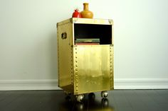 Vintage Brass Rolling Table - Metal Industrial End / Side Table, Bar Cart, Casters, NIghtstand. $168.00, via Etsy.
