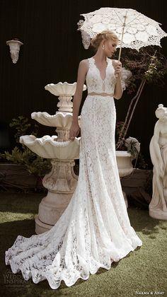 NAAMA ANAT fall 2016 #bridal dresses beautiful sheath #wedding dress lace strap v neckline lace crop top style charming