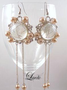 Frosty peach glass earrings  silver plated by Laurelisbijoux, $14.90