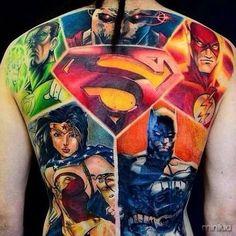 Artist: Fernando Souza from Fernando Souza Tattoo Studio. Nerd Tattoos, Marvel Tattoos, Batman Tattoo, Superman Tattoos, Badass Tattoos, Body Art Tattoos, Tatoos, Scorpio Tattoos, Avengers Tattoo