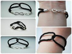 handmade black simple bracelets with silver link  facebook.com/malowanaszafahandmade