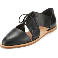 Loeffler Randall Willa Cutout Leather Oxford ($250) ❤ liked on Polyvore featuring shoes, oxfords, black, shoes lace up shoes, black leather flats, oxford shoes, black shoes, laced up flats and black oxfords
